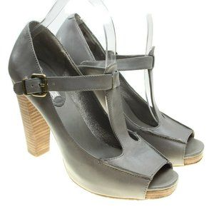Banana Republic Gray Leather Mary Jane Heels
